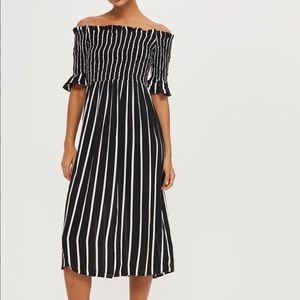 TOPSHOP SHIRRED STRIPE MIDI DRESS